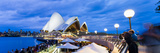 Sydney Opera House  UNESCO World Heritage Site  and People at Opera Bar at Night  Sydney  Australia