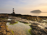 Dawn at Penmon Lighthouse  Penmon Point  Anglesey  North Wales  Wales  United Kingdom  Europe