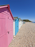 Multicoloured Beach Huts at Seaton  Devon Heritage Coast  UNESCO World Heritage Site  England