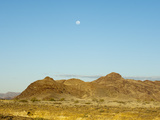 Moon Above the Namib Desert  Namibia  Africa