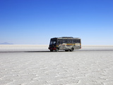 Bus on Salar de Uyuni  the Largest Salt Flat in the World  South West Bolivia  South America