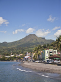 View of Saint-Pierre Showing Mount Pelee in Background  Martinique  Lesser Antilles  West Indies