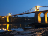 Menai Bridge Illuminated at Dusk  Gwynedd  Anglesey  North Wales  Wales  United Kingdom  Europe