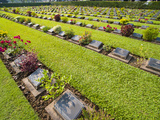 Lines of Hundreds of Graves at Kanchanaburi War Cemetery  Thailand  Southeast Asia  Asia