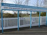 Station Sign at Llanfairpwllgwyngyllgogerychwyrndrobwllllantysiliogogogoch  Wales  UK