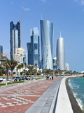 Corniche Towards New Skyline of West Bay Central Financial District  Doha  Qatar  Middle East