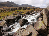 River Idwal Drains from Llyn Idwal  Pont Pen-Y-Benglog  Snowdonia  Wales  UK