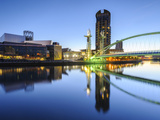 Millennium Bridge and Lowry Centre at Dawn  Salford Quays  Manchester  Greater Manchester  England