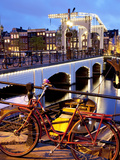 Magere Brug (Skinny Bridge) at Dusk  Amsterdam  Holland  Europe