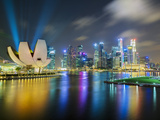 Art Science Museum and City Skyline from Marina Bay  Singapore  Southeast Asia  Asia