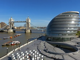 City Hall and Tower Bridge  London  England  United Kingdom  Europe