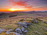 A Colourful Dawn on Chinkwell Tor in Dartmoor National Park  Devon  England  United Kingdom  Europe