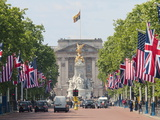 Flags Lining Mall to Buckingham Palace for President Obama's State Visit in 2011  London  England