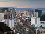 Elevated Dusk View of the Hotels and Casinos Along the Strip  Las Vegas  Nevada  USA  North America
