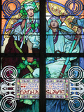 St Vitus's Cathedral  Stained Glass of St Cyril and Methodius  Alfons Mucha  Prague  Czech Republic