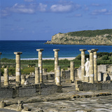 Roman Ruins with Statue of Emperor Trajan  Baelo Claudia  Near Tarifa  Andalucia  Spain  Europe