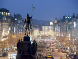 Statue of St Wenceslas and Wenceslas Square at Twilight  Nove Mesto  Prague  Czech Republic