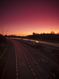 Roadworks and Lane Closures on the M5 Motorway at Dusk  Near Birmingham  West Midlands  England  UK