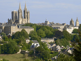 Panorama with Notre Dame Cathedral and St Peter Church  Coutances  Cotentin  Normandy  France