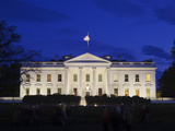 The White House at Night with Tourists  Washington DC  United States of America  North America