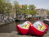 Souvenir Clogs and Canal  Amsterdam  Holland  Europe