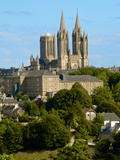 Notre Dame Cathedral on Skyline of Coutances  Cotentin  Normandy  France  Europe