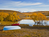 Rowing Boats and Snow Capped Mountains at Lake Alexandrina  Southern Lakes  New Zealand