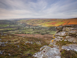 Looking Down to Widecombe-In-The-Moor from Chinkwell Tor in Dartmoor National Park  Devon  England