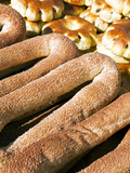 Sesame Round Bread for Sale in the Old City  Jerusalem  Israel  Middle East