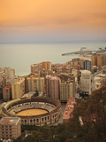 High Angle View of Malaga Cityscape with Bullring and Docks  Andalusia  Spain  Europe