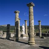 Roman Ruins with Statue of Emperor Trajan  Baelo Claudia  Near Tarifa  Andalucia  Spain  Europe