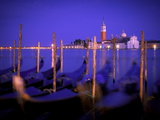 Gondolas at Dusk with San Giorgio Maggiore Island in the Background  Venice  Italy  Europe