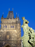 Gothic Old Town Bridge Tower and St Ivo Statue  UNESCO World Heritage Site  Prague  Czech Republic