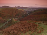 View at Dusk over Carding Mill Valley and Long Mynd Towards Church Stretton  Shropshire  England