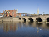 North Quay and Bridge over River Severn  Worcester  Worcestershire  England  United Kingdom  Europe