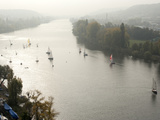 Sail Boats on Vltava River in Autumn  Vysehrad  Prague  Czech Republic  Europe