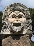 Ornate Theatre Mask  Ostia Antica  Rome  Lazio  Italy  Europe