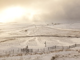Snow over Peak District National Park  Derbyshire  England  UK  Europe