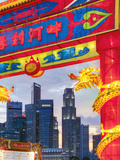 City Financial Skyline  River Hongbao Decorations for Chinese New Year Celebrations  Singapore