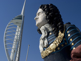 Ship Figurehead with Spinnaker Tower Behind  Gunwharf  Portsmouth  Hampshire  England  UK  Europe