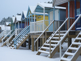 Beach Huts in the Snow at Wells Next the Sea  Norfolk  England