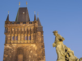 Old Town Bridge Tower and Baroque St Ivo Statue  UNESCO World Heritage Site  Prague  Czech Republic