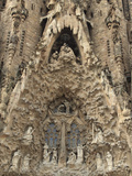 Carvings on Facade of Sagrada Familia Temple  UNESCO World Heritage Site  Barcelona  Spain