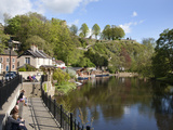 Sitting on the Riverside in Spring  Knaresborough  North Yorkshire  England  United Kingdom  Europe
