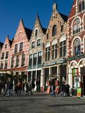 Gabled Fronted Restaurants in Market Square at Christmas  West Vlaanderen (Flanders)  Belgium