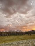 Orange Clouds at Sunset over the Sawtooth Mountains  Sawtooth National Recreation Area  Idaho  USA