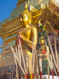 Gold Leaf Buddha and Incense Sticks at Wat Doi Suthep Temple  Chiang Mai  Thailand  Southeast Asia