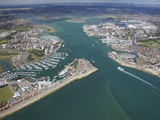 Aerial View of Portsmouth Harbour and the Solent  Hampshire  England  United Kingdom  Europe