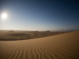 Moonrise over Sand Dunes  Skeleton Coast National Park  Namibia  Africa