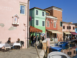 Canal on Burano Island  Venice  Veneto  Italy  Europe